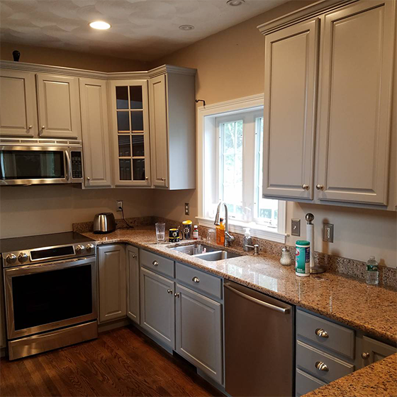 Burlington kitchen cabinet painting refinishing like new in MA NH